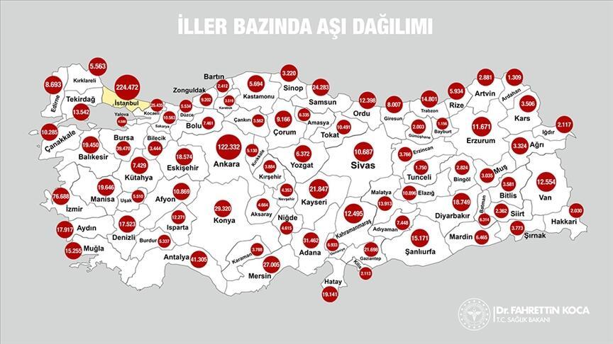 Bakan Koca paylaştı: 1,2 milyon aşı Türkiye'nin tamamına ulaştı